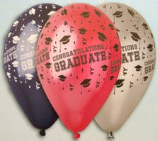 """Воздушные шарики металлик ассорти  """"Congratulations Graduate"""" 13"""" (33 см) Gemar"""