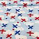 Хлопковая ткань польская самолеты красные и синие с белыми облаками на голубом, фото 2