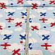 Хлопковая ткань польская самолеты красные и синие с белыми облаками на голубом, фото 3