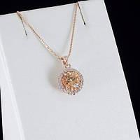Сказочный кулон с кристаллами Swarovski + цепочка, покрытые золотом 0819