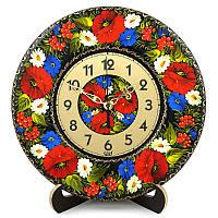 Часы деревянные. Танок квітів. Украинский сувенир. Петриковская роспись.