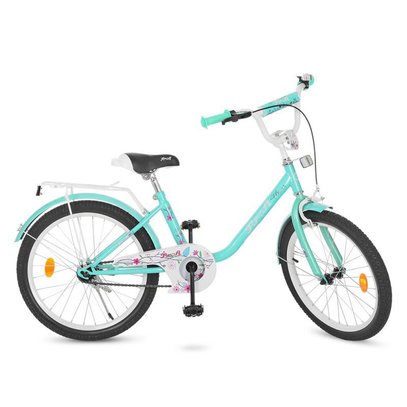 Детский двухколесный велосипед для девочки PROFI 20 дюймов цвет мята, Flower  Y2084
