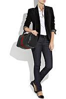 Сумка - копия именитого бренда gucci, черная, искусственная кожа pu, стильный аксессуар для женщин, 32*27*17