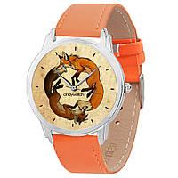 Женские наручные часы Две лисицы AW 012 на оранжевом ремешке (экокожа) + деревянная коробка в подарок