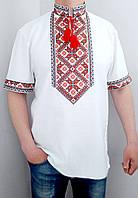 Мужская вышиванка Матвей на белом льне, вышивка красная, фото 1