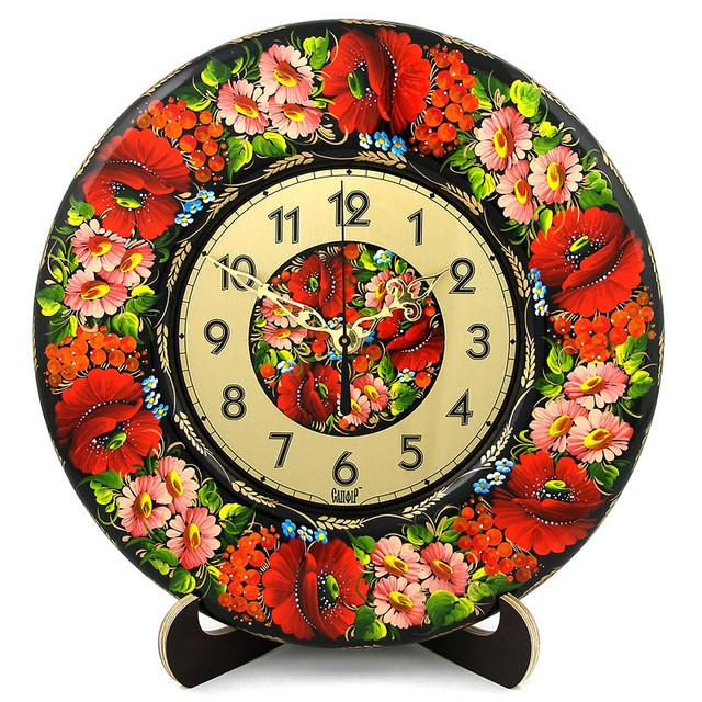 декоративные деревянные часы Ніжні квіти