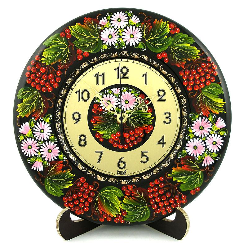 Часы деревянные. Калинове диво. Украинский сувенир. Петриковская роспись., фото 1