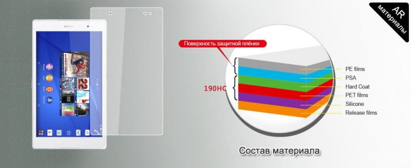 Защитная плёнка Sony tablet Z3 глянцевая