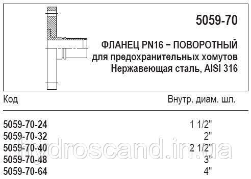 Фланец PN16 — поворотный, 5059-70