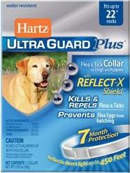 Ошейник Hartz Ultra Guard Plus для собак от блох, клещей и яиц на 7 месяцев, 55см. Белый-светоотражающий