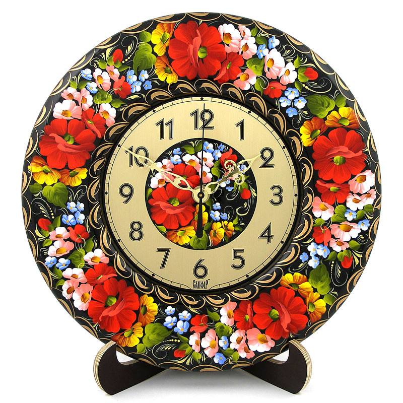 Часы деревянные. Бузковий рай. Украинский сувенир. Петриковская роспись., фото 1