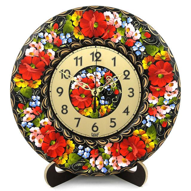 декоративные деревянные часы Бузковий рай