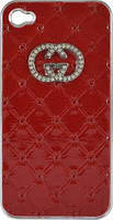 "Кейс ""Gucci"" Logo Swarowski iPhone 4/4S red"