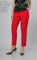 Яркие красные женские брюки из материала креп-костюмка