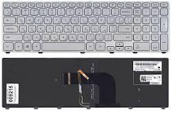 Клавиатура для ноутбуков Samsung 740U3E Series серебристая без рамки, с подсветкой UA/RU/US