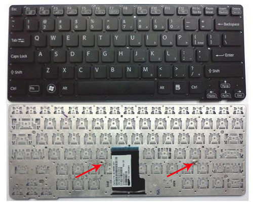 Клавиатура для ноутбуков Sony Vaio VPC-CA Series черная без рамки, под подсветку RU/US