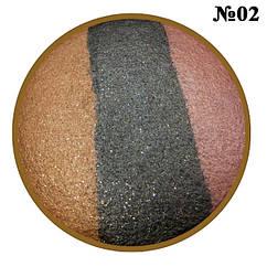 Тени для век LDM запеченные 3-х цветные, Цвета Коричневый, Черный, Какао. Тон 02