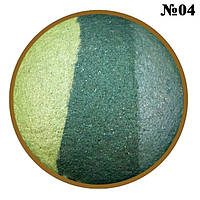 Тени для век LDM запеченные 3-х цветные, Цвета Салатовый, Зеленый, Морской Тон 04