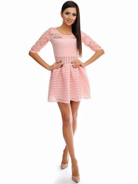 43c335dfc25 Короткое персиковое женское платье с расклешенной юбкой из набивного гипюра.  Арт-6535 52