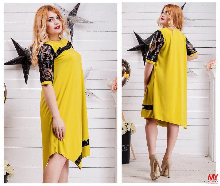 """Желтое свободное женское платье с отделкой из вышивки и паеток  Арт-6538/52 - Интернет-магазин """"Ledi-Moda"""" в Одессе"""