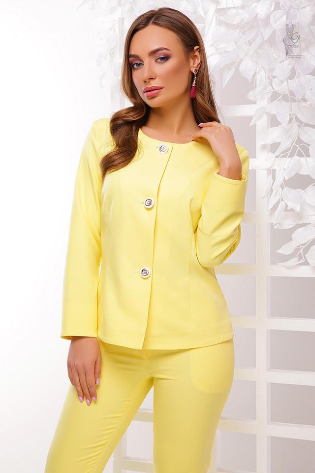 Цвет желтый Стильного женского жакета Мила