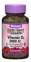 Витамин D3 2000IU, Вкус Малины, Earth Sweet Chewables, Bluebonnet Nutrition, 90 жевательных таблеток