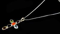 Крестик серебряный со вставками натуральных камней
