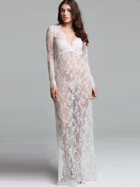 Кружевное будуарное платье белое