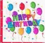 20 шт./упак. Салфетки Happy Birthday шары двухслойные