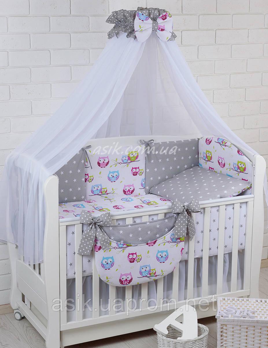 Комплект постельного белья Asik Звёзды на сером и цветные совушки на белом 8 предметов (8-251)