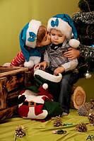 Новогодняя шапка санты голубая для Девочки