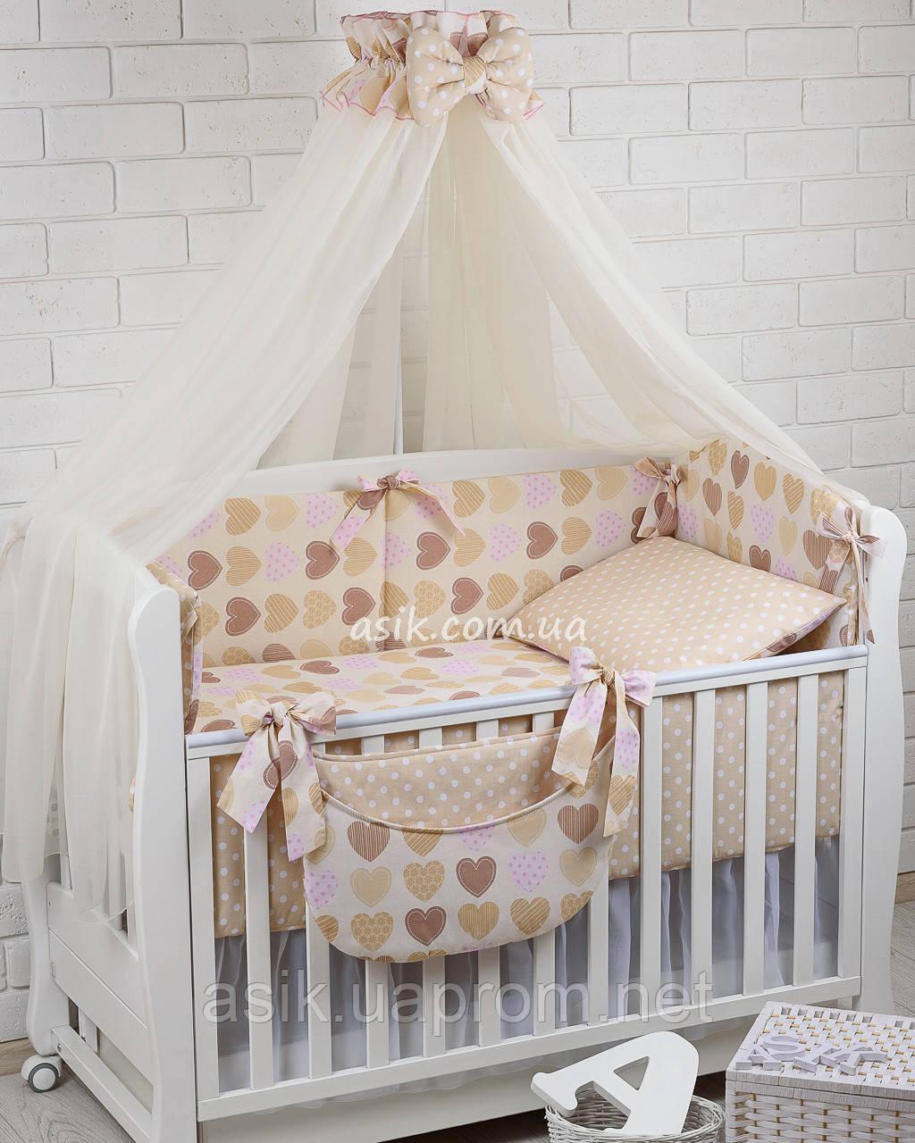 Комплект постельного белья Asik Сердечка с горошком бежевые и розовые 8 предметов (8-212)