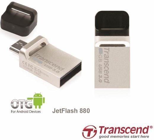 USB флеш накопитель Transcend 64GB JetFlash OTG 880 Metal Silver USB 3.0