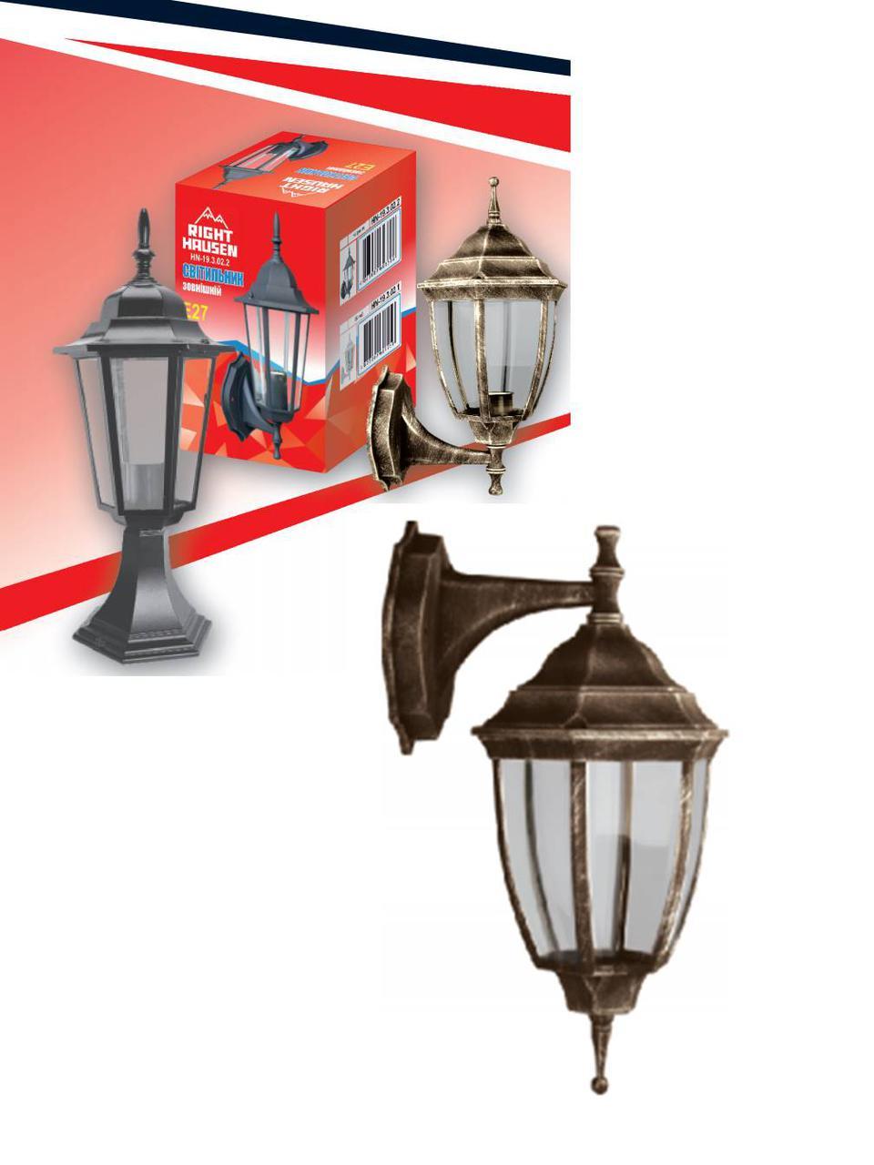 Настенный садово-парковый светильник бра античное золото прозрачное стекло Right Hausen