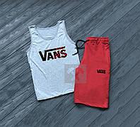 Летний комплект майка и шорты Vans Ванс серый с красным (РЕПЛИКА)