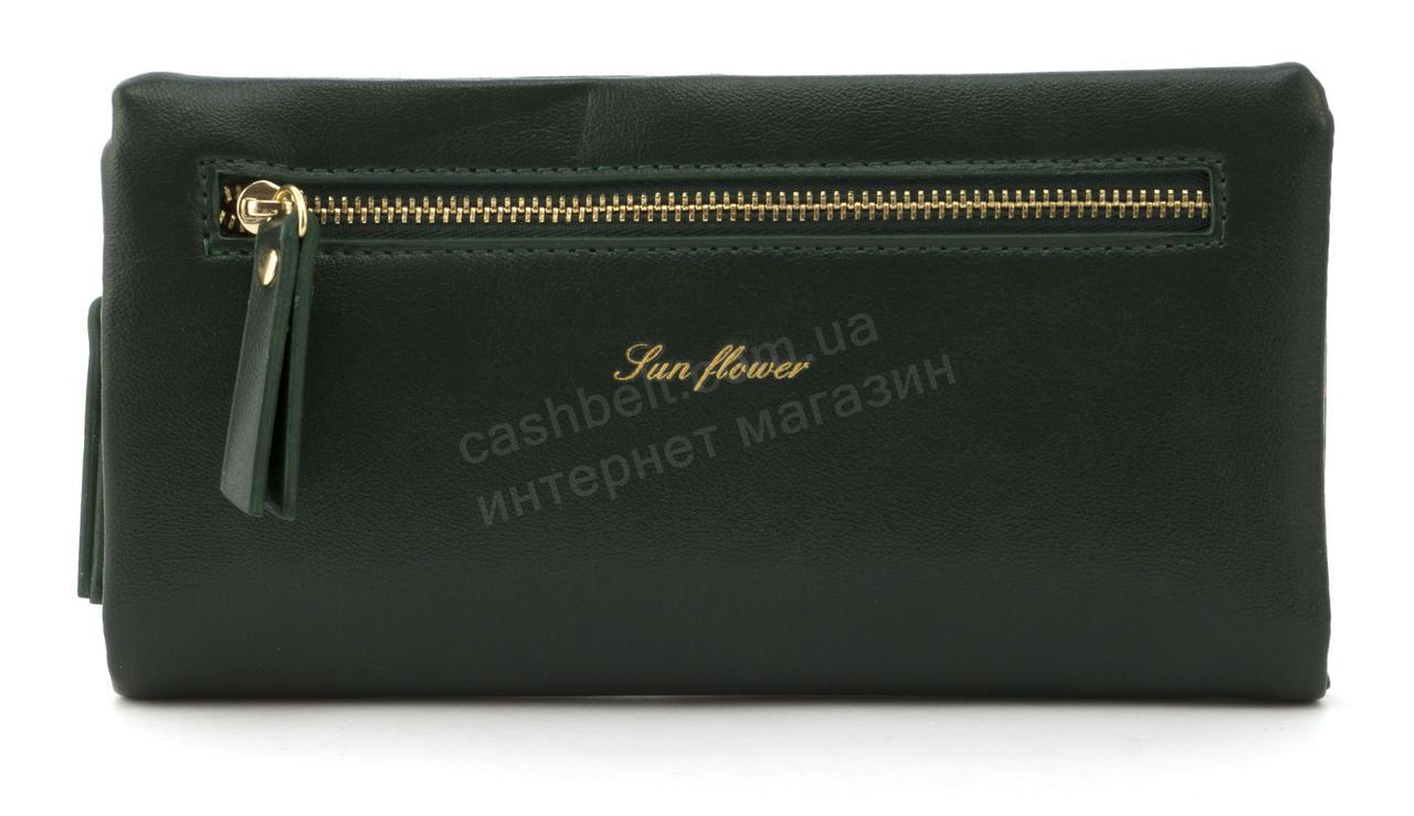 Стильный прочный удобный женский кошелек барсетка высокого качества Saralyn art. J-1065 темно зеленый