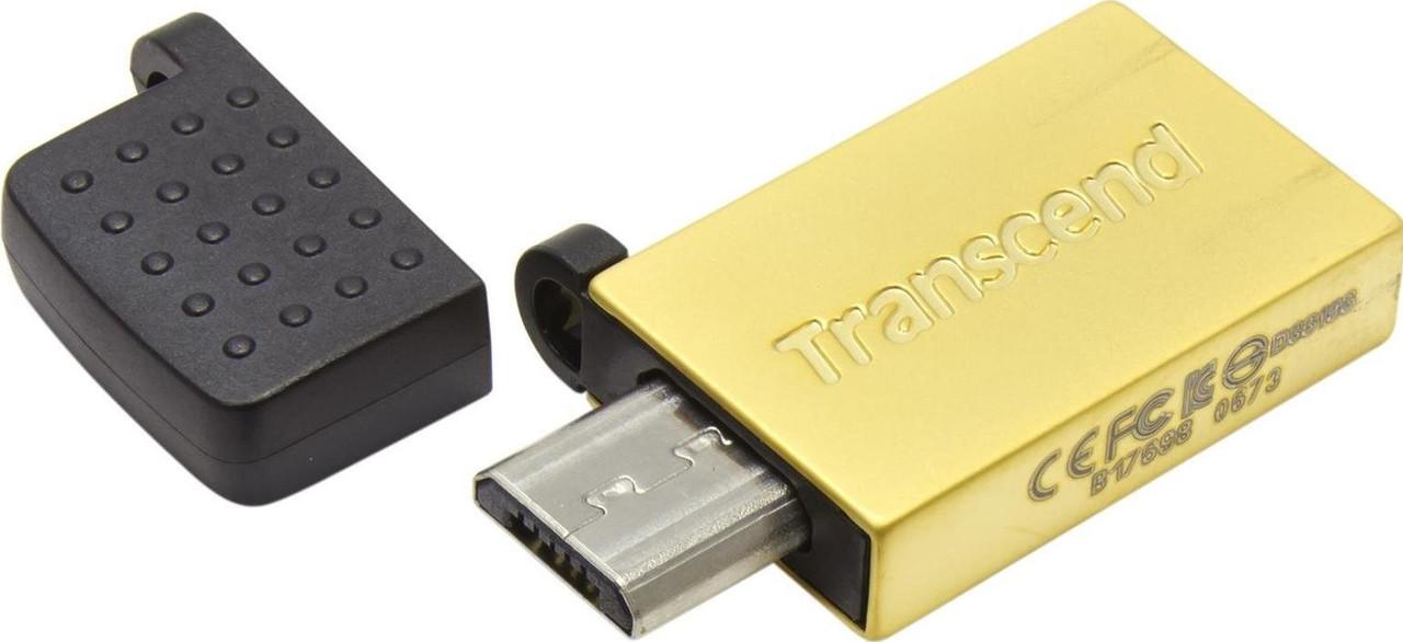 USB флеш накопитель Transcend 32GB On-The-Go Gold USB 2.0
