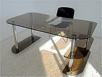 """Стол письменный стеклянный на хромированных ножках Maxi WR D 1350 """"тонированный"""" стекло, хром, фото 1"""