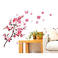 """Наклейка на стену, наклейки цветущее дерево, наклейки на шкаф """"ветка сакуры"""" 1м65см*75см (лист60*90см)"""