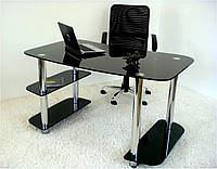 """Стол письменный стеклянный на хромированных ножках Maxi WR D 1350/800 """"черный"""" стекло, хром"""