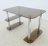 """Стол письменный стеклянный на хромированных ножках Maxi WR D 1350/800 """"тонированный"""" стекло, хром"""