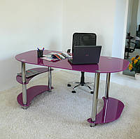 """Стол письменный стеклянный на хромированных ножках Maxi WR XL 1650/900 """"лиловый"""" стекло, хром, фото 1"""