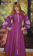Шикарне довге вишите жіноче плаття в стилі бохо та широким поясом