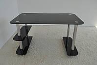 """Стол письменный стеклянный на хромированных ножках Maxi WR B 1100/700 """"черный"""" стекло, хром, фото 1"""