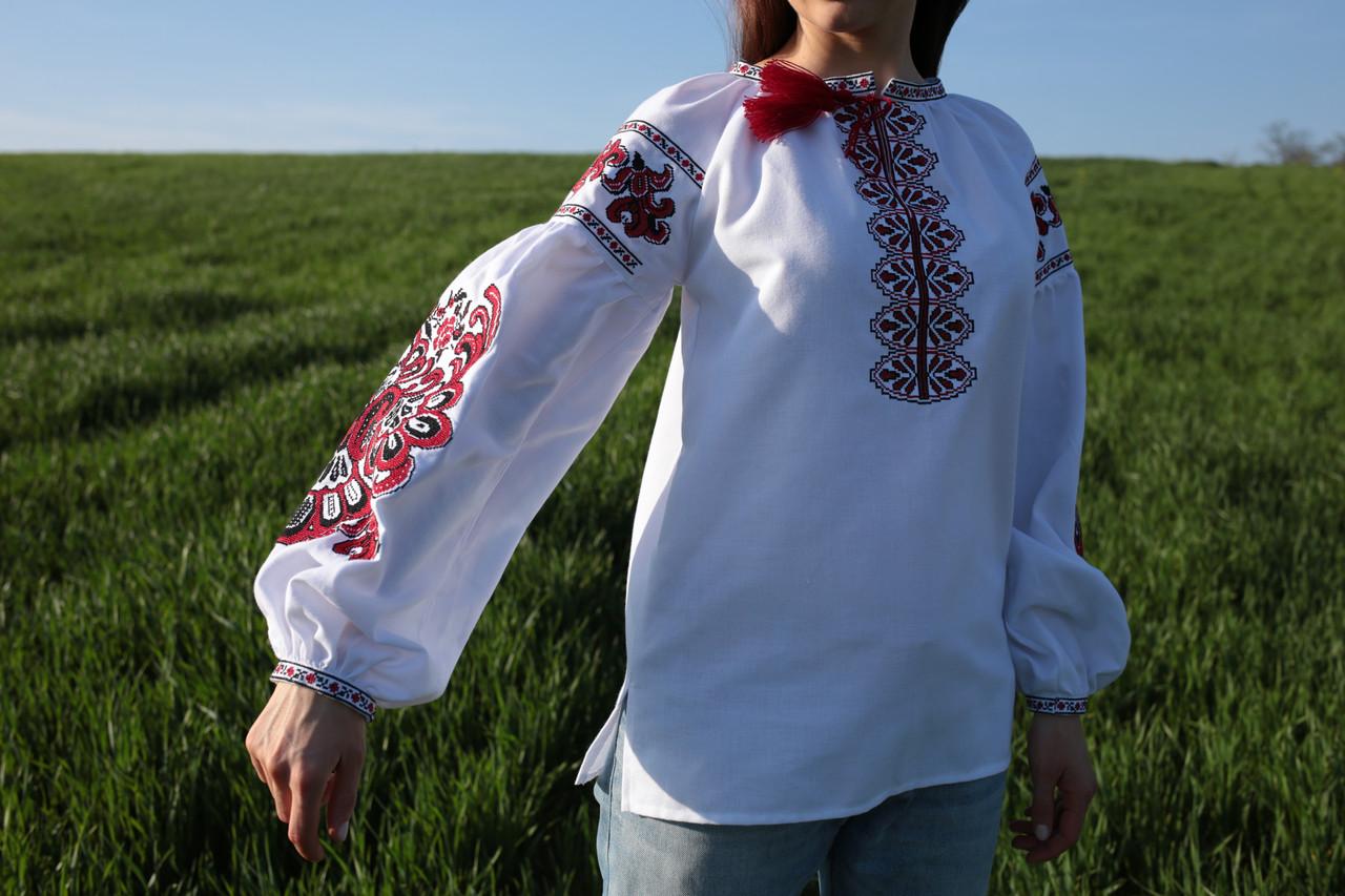 Жіноча вишиванка білого кольору з машинною вишивкою