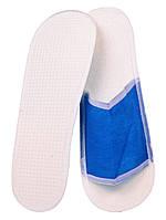 Тапочки одноразовые флизелиновые открытые с антискользящей подошвой (цвет синий)