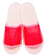Тапочки одноразовые флизелиновые открытые с антискользящей подошвой (цвет красный)