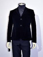 Классический пиджак вельвет велюр 1, Да, 52/182, Однобортный, синий, Две боковые