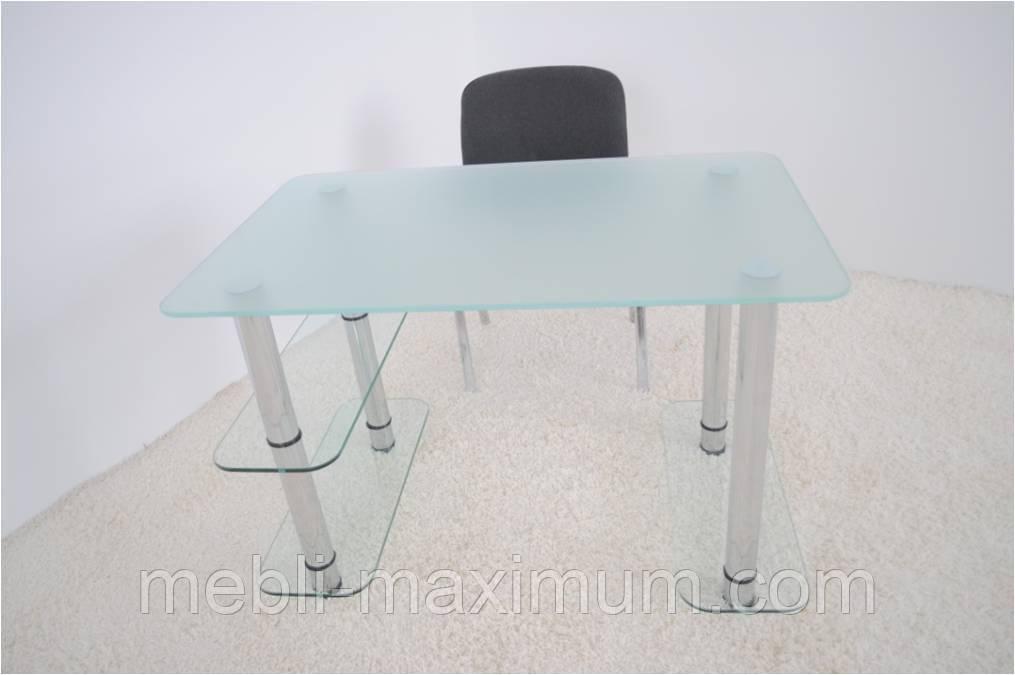 """Стол письменный стеклянный на хромированных ножках Maxi WR B 1100/700 """"прозрачный"""" стекло, хром"""