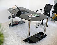 """Стол письменный стеклянный на хромированных ножках Maxi WR D 1350/800 """"черно-белый"""" стекло, хром, фото 1"""